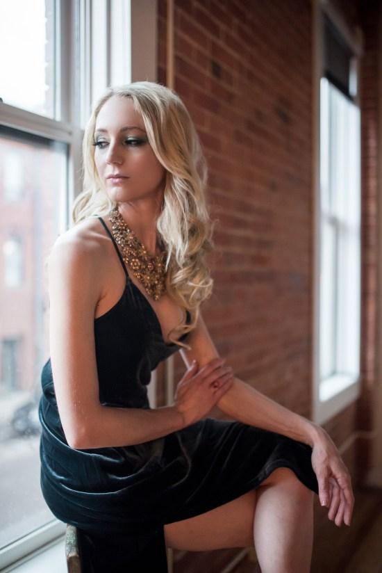 Charlotte North Carolina Portrait Photography Photographer Carrie Anne White Colorado Model Studio Urban Exposed Brick Blonde Elegant Portraits