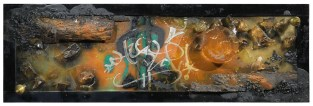 Gothic futurism - Rammellzee shot to help - objects, resin on mirror cm.54,5x167 - 1985