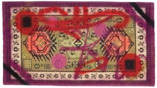 Rammellzee, spray su tappeto, cm. 98 x 54, 1984