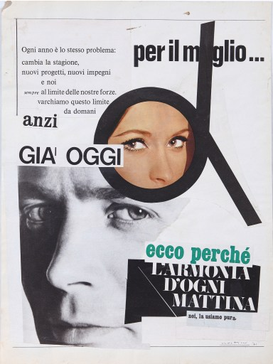 Stelio Maria Martini, collage su carta, cm. 34 x 25, 1971