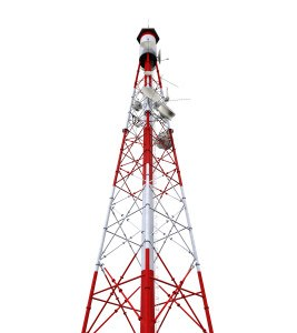 Communication Tower with Antennas isolated on white background. 3D render