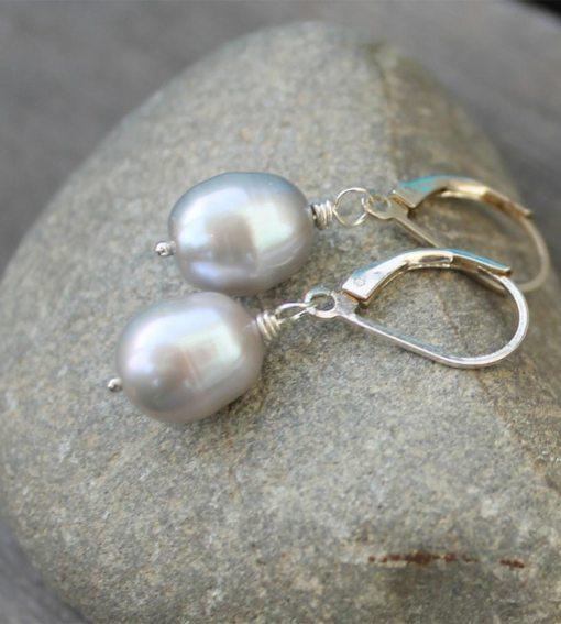 Grey pearl drop earrings handcrafted by Carrie Whelan Designs