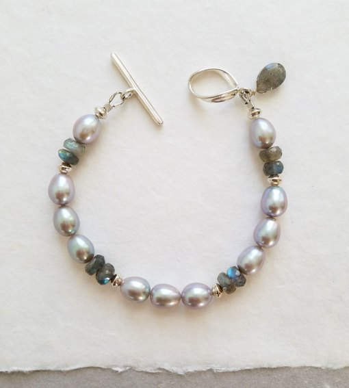 Gray freshwater pearl and labradorite gemstone bracelet handmade in silver by Carrie Whelan Designs