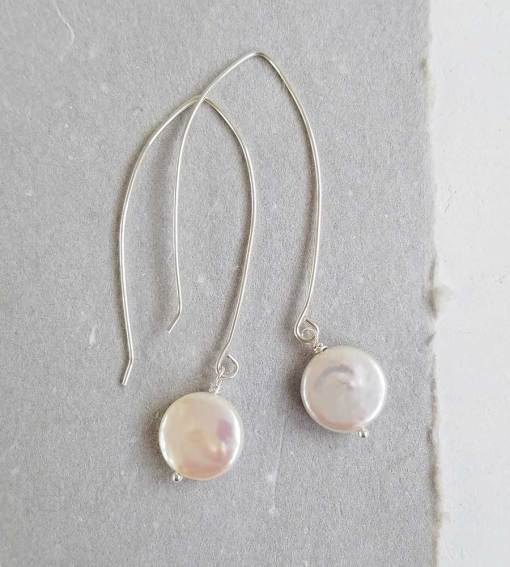 Long coin pearl earrings in silver handmade by Carrie Whelan Designs