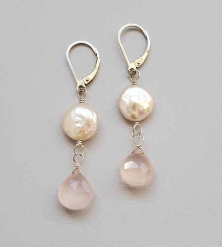 Blush coin pearl & drop earrings handcrafted by Carrie Whelan Designs