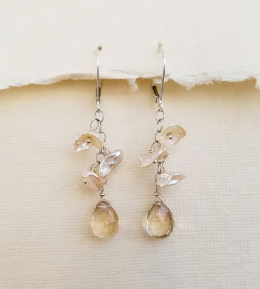 Ethereal champagne pearl and gemstone earrings handcrafted by Carrie Whelan Designs