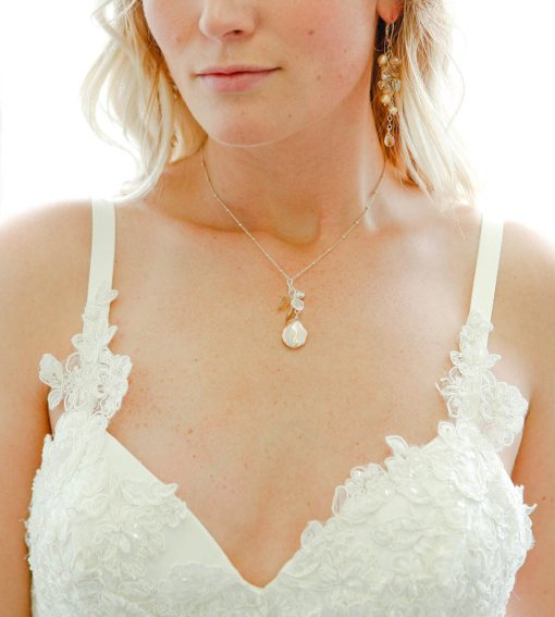 Champagne pearl bridal pendant handmade by Carrie Whelan Designs