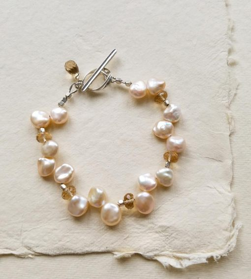 Champagne gemstone and petal pearl bracelet handcrafted by Carrie Whelan Designs