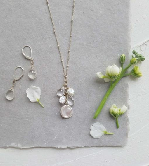 Keshi pearl necklace and clear drop earrings bridal set by Carrie Whelan Designs