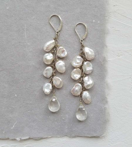 Long dangle keshi pearl earrings handcrafted in silver by Carrie Whelan Designs