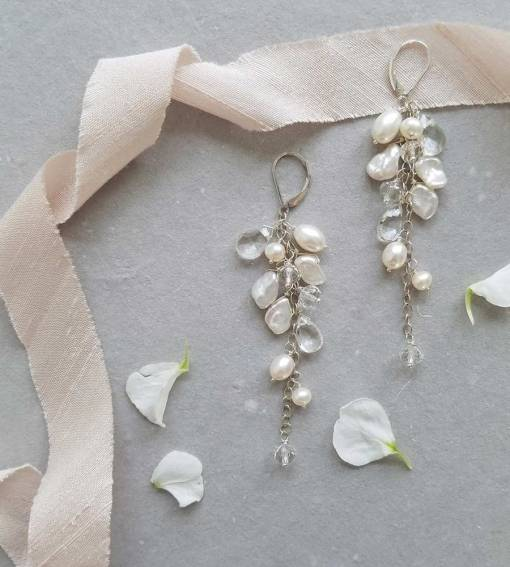 Long pearl and crystal quartz bridal earrings handcrafted by Carrie Whelan Designs