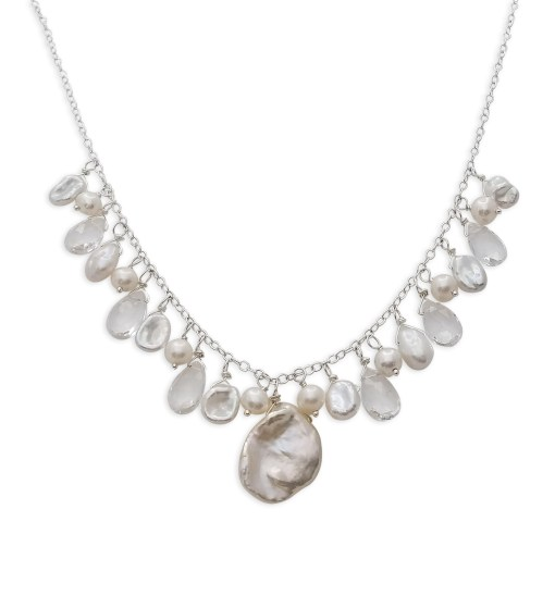 pearl and gemstone cluster bridal necklace by Carrie Whelan Designs