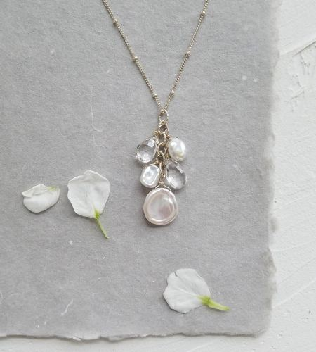 White keshi pearl Y-necklace handmade by Carrie Whelan Designs