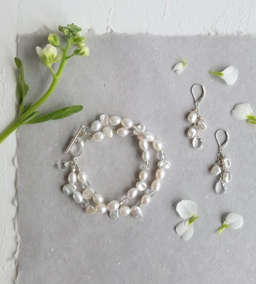 White pearl bracelet and earrings set handcrafted by Carrie Whelan Designs