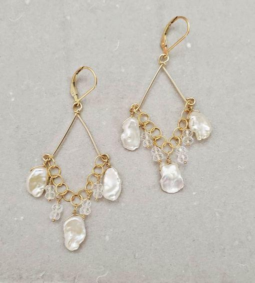 Keshi pearl chandelier earrings in gold handmade by Carrie Whelan Designs