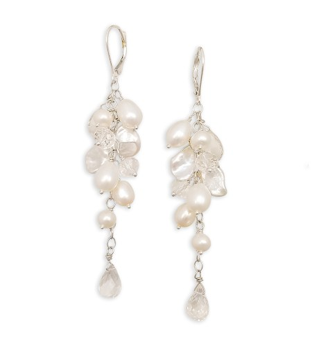 long white pearl cluster earrings with gemstones handcrafted by Carrie Whelan Designs