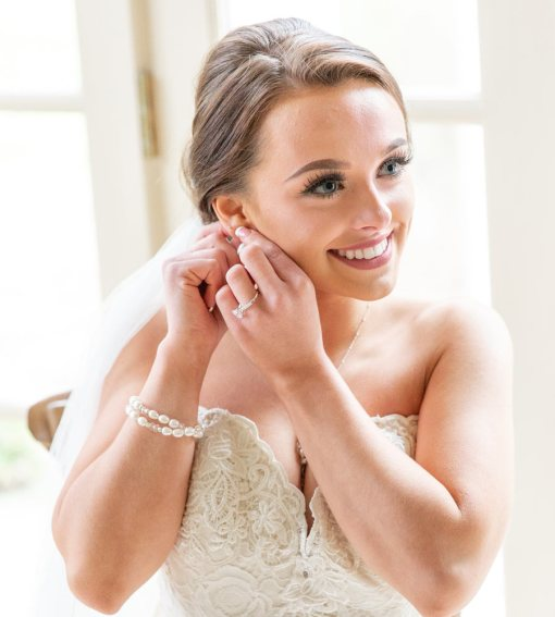Pearl two strand bridal bracelet handcrafted by Carrie Whelan Designs