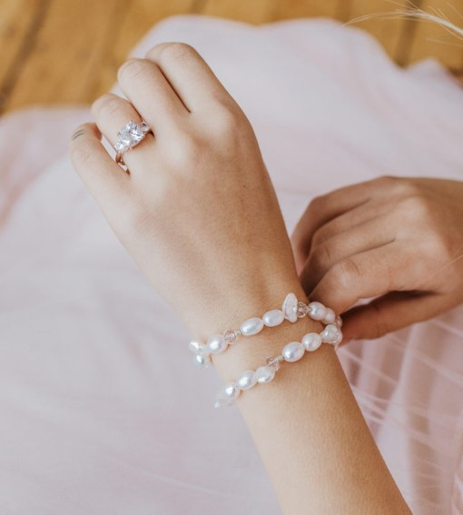 Two strand freshwater pearl bridal bracelet handcrafted by Carrie Whelan Designs