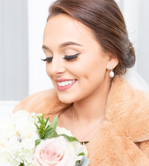 CZ and pearl bridal earrings handmade by Carrie Whelan Designs