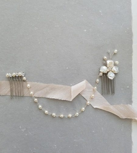 pearl flower hair chain handmade for brides by Carrie Whelan Designs