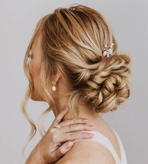 Pearl flower hair pin for bride handcrafted by Carrie Whelan Designs
