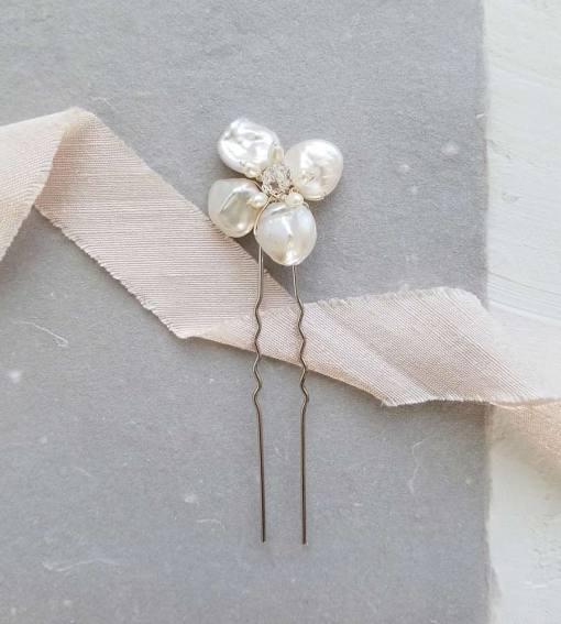 Handmade pearl flower bridal hair pin from Carrie Whelan Designs