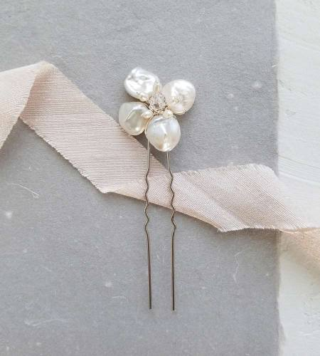 Handmade pearl flower bridal hair pin from Carrie Whelan Designs