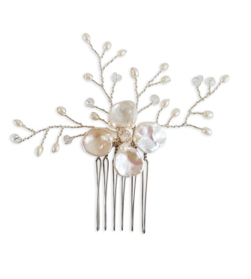 Pearl flower bridal hair comb handcrafted by Carrie Whelan Designs