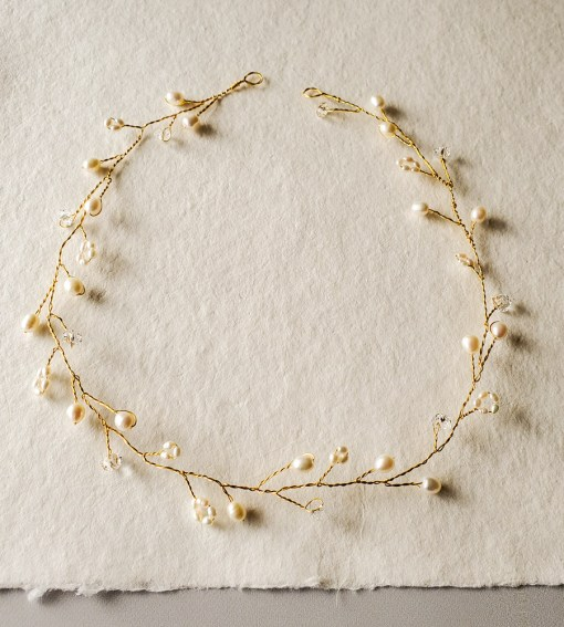 Delicate freshwater pearl hair vine in gold handmade Carrie Whelan Designs