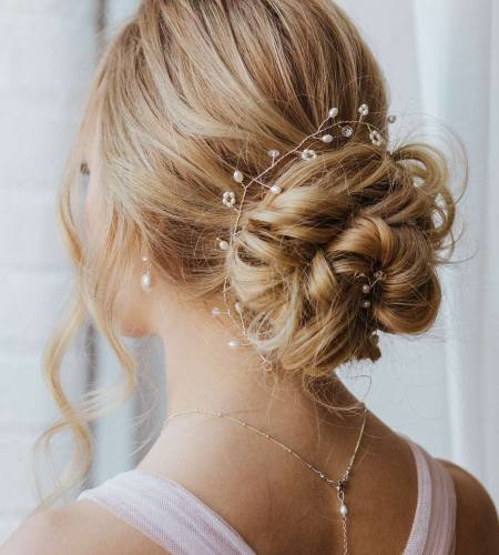 Freshwater pearl and crystal bridal hair vine handmade by Carrie Whelan Designs