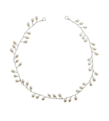 Freshwater pearl silver hair vine handcrafted by Carrie Whelan Designs