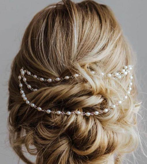 Handcrafted hair chain for wedding by Carrie Whelan Designs