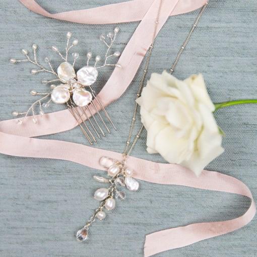 Handmade pearl flower wedding hair comb by Carrie Whelan Designs