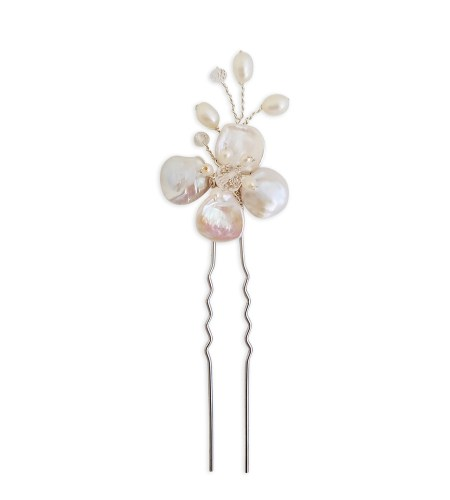 Pearl floral hair pin handmade by Carrie Whelan Designs