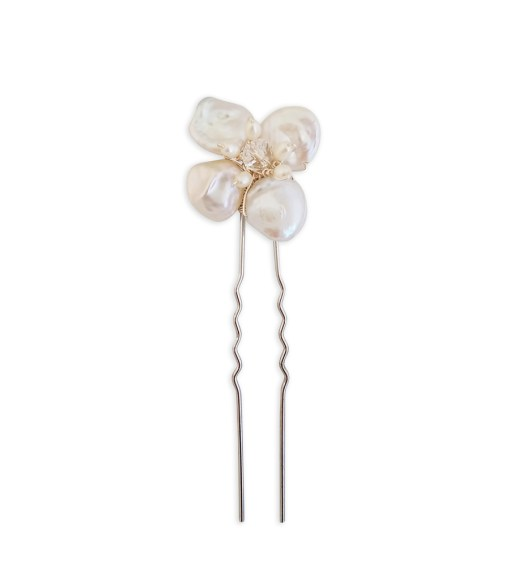 Handcrafted pearl flower hair pin from Carrie Whelan Designs
