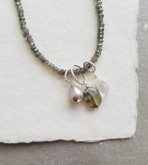 Dainty beaded gemstone necklace in labradorite handmade by Carrie Whelan Designs