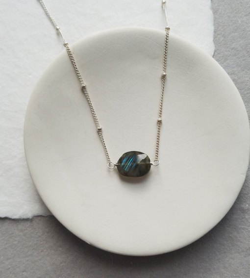 Oval labradorite choker necklace in silver handcrafted by Carrie Whelan Designs