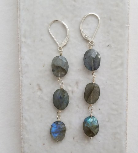 Linear labradorite earrings in silver handmade by Carrie Whelan Designs