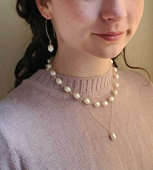 Audrey freshwater pearl collar in sterling silver handmade by Carrie Whelan Designs