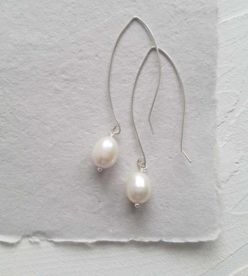 Large freshwater pearl dangle earrings for a bride handmade by Carrie Whelan Designs