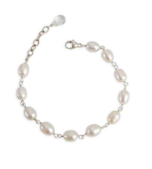 Adjustable freshwater pearl bracelet hand wrapped in silver by Carrie Whelan Designs
