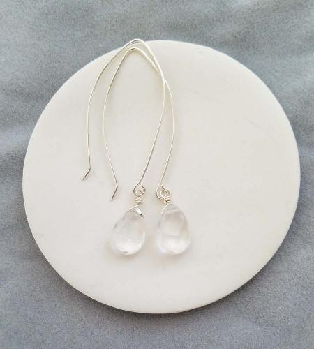 Clear gem long wire earrings in silver handmade by Carrie Whelan Designs