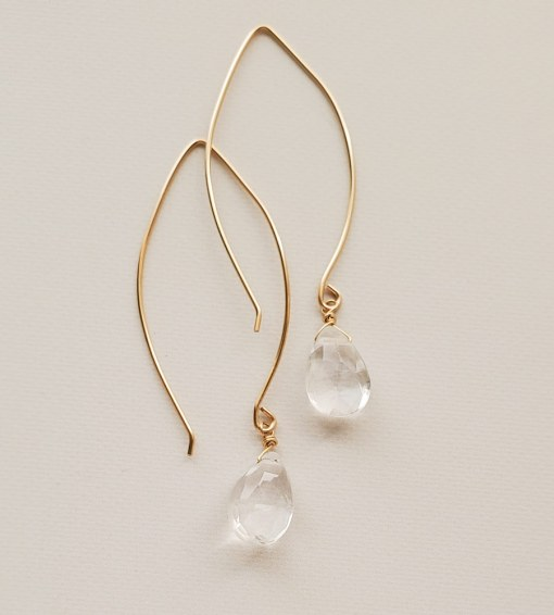 Clear quartz long wire earrings in gold handmade by Carrie Whelan Designs