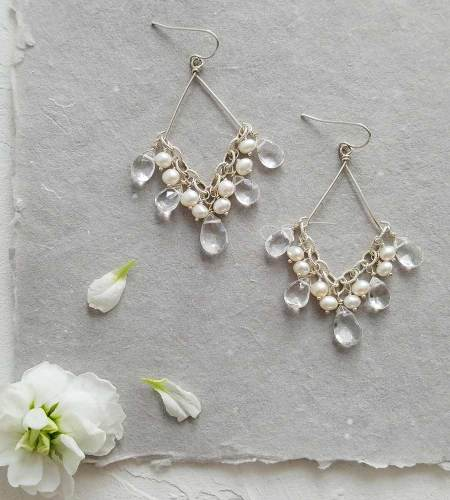 Handcrafted pearl and gem chandelier earrings handmade bridal by Carrie Whelan Designs