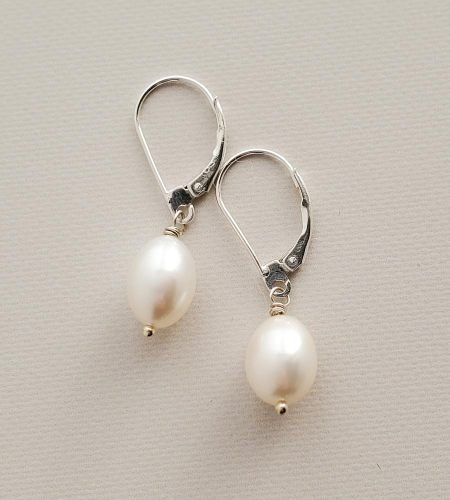 Handcrafted large pearl drop earrings by Carrie Whelan Designs