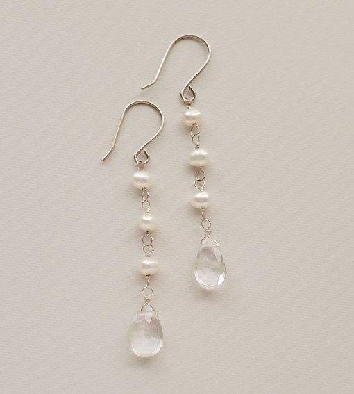 Linear pearl and Rock quartz earrings handmade by Carrie Whelan Designs