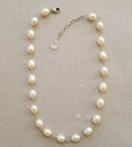 Handcrafted Freshwater pearl collar necklace wire wrapped in sterling silver by Carrie Whelan Designs