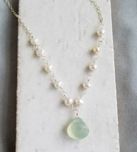 Aqua Drop Pearl Chain Necklace handcrafted by Carrie Whelan Designs