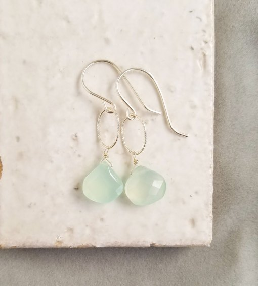 Aqua chalcedony teardrop earrings in silver by Carrie Whelan Designs delicate handmade jewelry