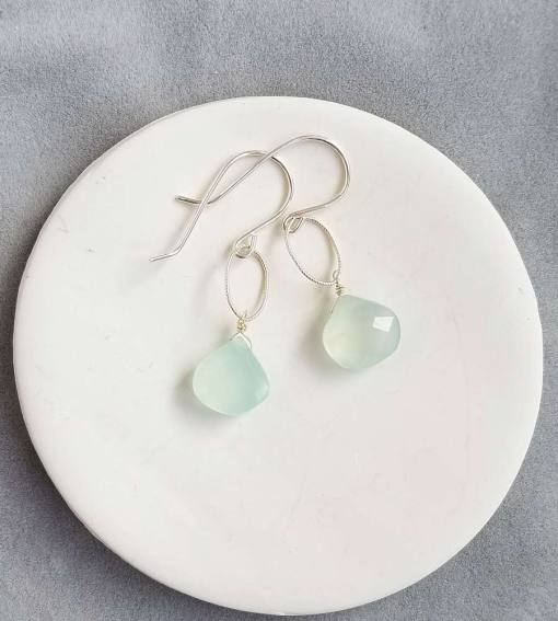 Aqua chalcedony teardrop earrings in sterling silver by Carrie Whelan Designs
